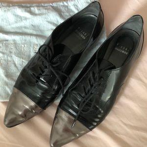 Stuart Weitzman black and silver tie flats